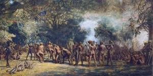 Cannibal feast, New Hebrides, by Charles Frazer (1863-1899). Private collection
